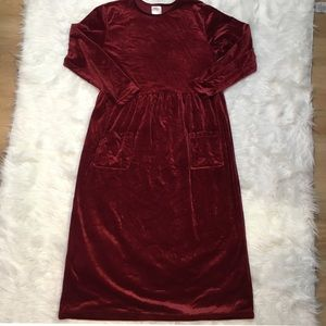 Vintage velvet burgundy baby doll maxi dress
